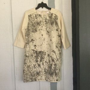 cos 3/4 Sleeve Print Front Wool Dresses Size 40